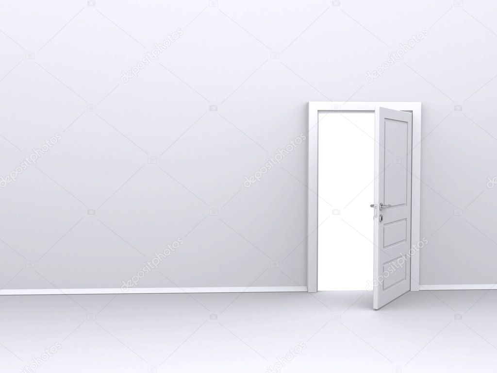Open white door (3d render) — Stock Photo #4782717