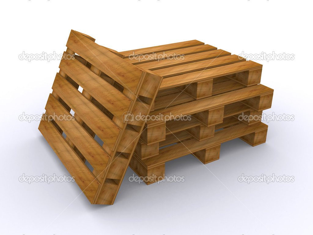 3d render of wooden pallets over a white background  — Stock Photo #4782738