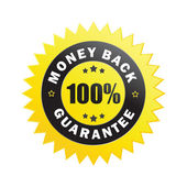 100% money back guarantee label — Stock Vector