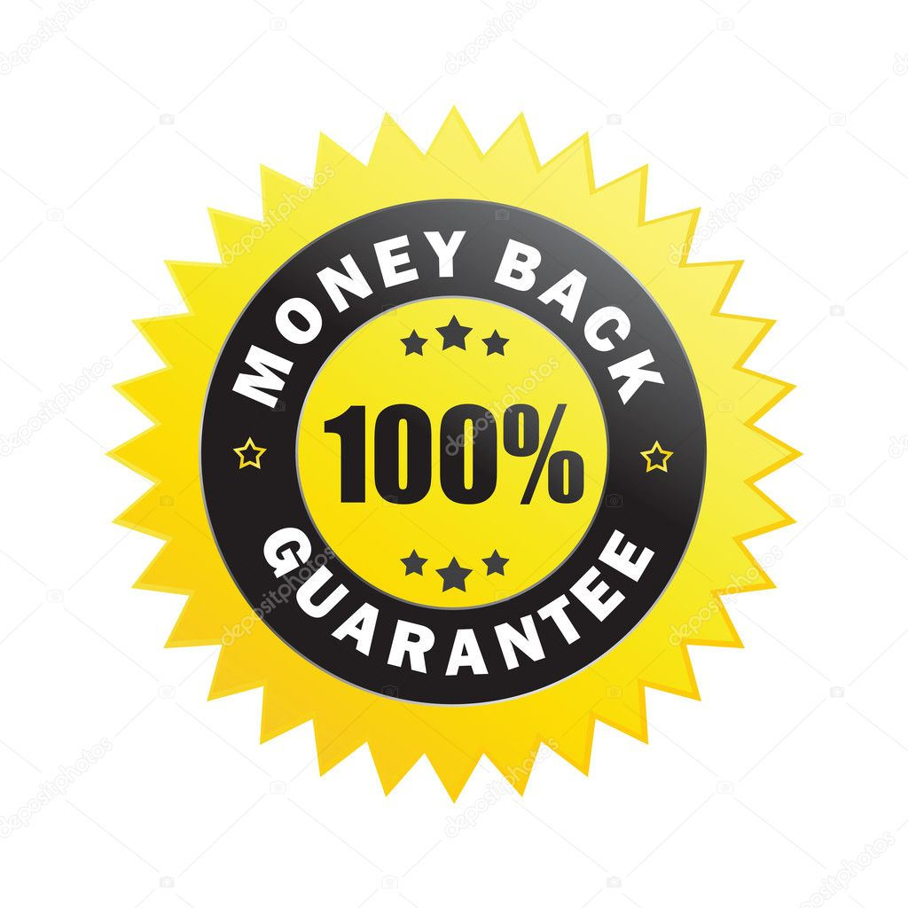 100% money back guarantee label isolated on a white background (vector) — Vektorgrafik #4828143
