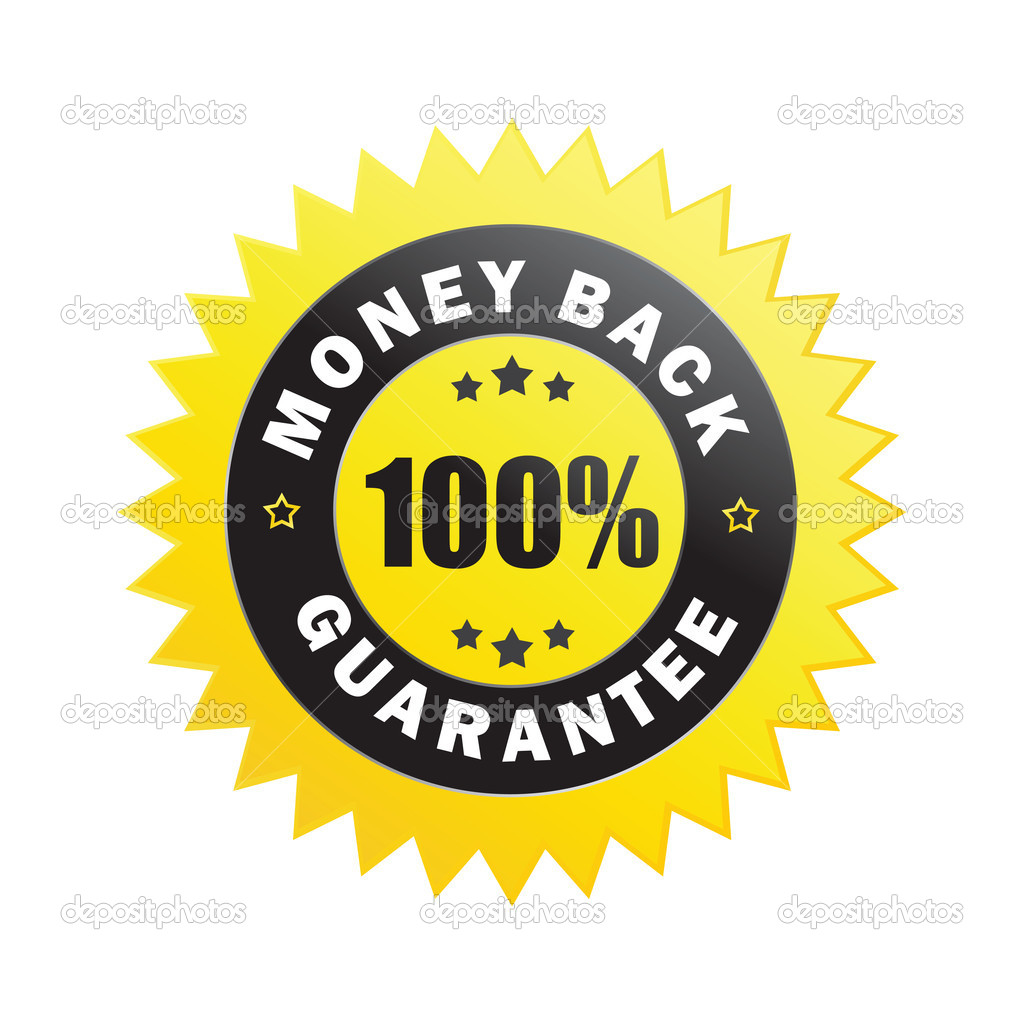 100% money back guarantee label isolated on a white background (vector) — Image vectorielle #4828143