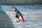 Risky training of water sportsmen — Stock Photo