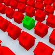 Red and green 3d houses — Stock Photo