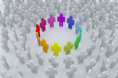 Group of colour into the crowd — Stock Photo