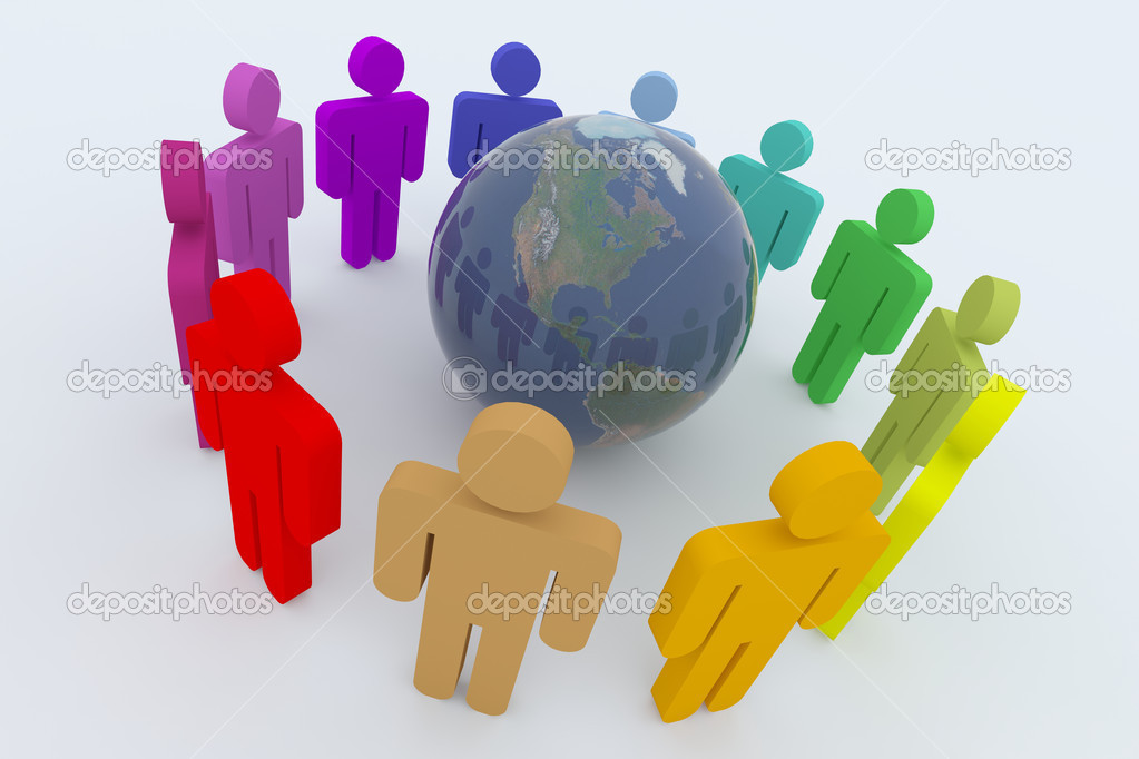 Global teamwork conceptual 3d illustration isolated on white  Stock Photo #5263134