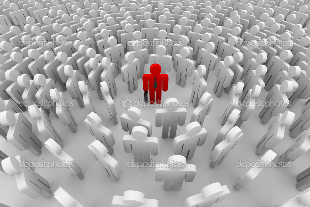 Crowd around the one red man. 3D image. — Stock Photo #5263196