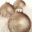 Christmas decorations on a white garland - Stock Photo