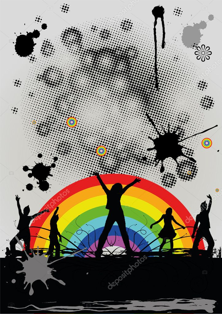 Dancing silhouettes of youth against a rainbow — Stock Vector #4679224