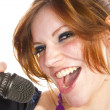Young girl singing — Stock Photo