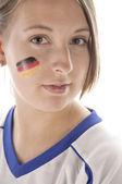 Weiblicher Fußballfan — Stock Photo