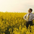 Stock Photo: Manager in flowering rape field