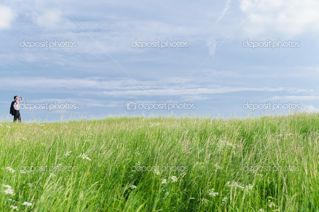 Businessman in suit standing on a meadow and looks into the distance in front of clouds — Stock Photo #4817725