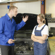 Female car mechanic unhappy — Stock Photo