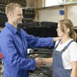 Female car mechanic happy — Stock Photo