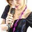 Pretty girl singing — Stock Photo