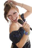 Pretty girl singing — Stock Photo