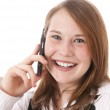 Cute girl with telephone — Stock Photo