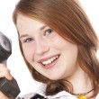 Cute girl with telephone — Stock Photo #5141226