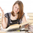 Cute girl doing homework — Stock Photo