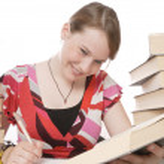 Cute girl doing homework — Stock Photo #5142685