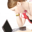 Cute girl with laptop pc — Stock Photo