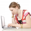 Cute girl with laptop pc — Stock Photo #5142973