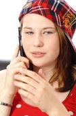 Telefon ile şirin kız — Stok fotoğraf