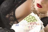 Attraktive woman with money — Stock Photo
