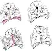 Pupil's mark book cartoons — Stock Vector