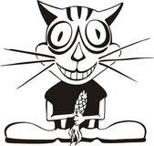 Happy cat & fish — Stock Vector