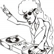 Постер, плакат: Cool DJ twisting records