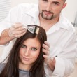 Professional hairdresser color customer at salon — Stock Photo #4680774