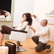 Stock Photo: Professional hairdresser comb customer at salon