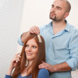 Royalty-Free Stock Photo: Professional hairdresser choose hair dye color at salon