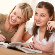 Student series - Two girls doing homework — Stock Photo