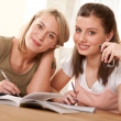 Student series - Two students studying home — Stock Photo