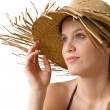 Beach - Happy woman in bikini with straw hat — Stock Photo