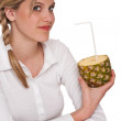 Stock Photo: Healthy lifestyle series - Woman holding pineapple