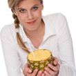 Healthy lifestyle series - Blond woman holding pineapple — Stock Photo #4682707