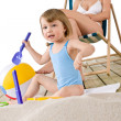Beach - Mother with child playing with toys in sand — Stock Photo #4682914
