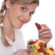 Healthy lifestyle series - Woman with fruit salad — Stock Photo #4683235