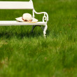 Spring and summer - White romantic bench in meadow — Stock Photo