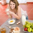 Stock Photo: Baking - Happy woman prepare healthy ingredients