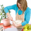 Baking - Smiling woman with healthy ingredients — Stock Photo #4683716