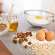 Baking dough ingredients, honey, eggs, flour — Stock Photo