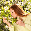 Stock Photo: Young woman enjoying spring under blossom tree