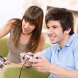 Student - happy teenagers playing video game - Lizenzfreies Foto