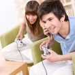 Royalty-Free Stock Photo: Student - happy teenagers playing video game