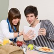 Student cafeteria - Teenagers having lunch break — Stock Photo
