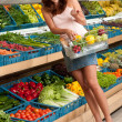 Grocery store shopping - Woman in summer outfit — Stock Photo #4684534